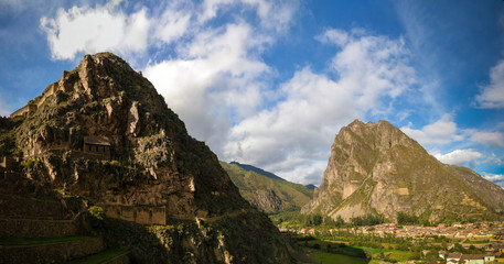 Panoramic view to Ollantaytambo archaeological site, Cuzco, Peru