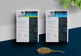 Resume Layout with Blue Gradient and Sidebar