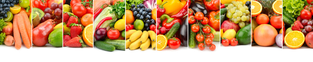 Useful fruits, vegetables and berries isolated on white background.