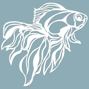 fish for laser cutting. Suitable for cutting from paper, wood metal. For the design of postcards, menus and interior details. Sticker. Pattern for the laser cut, plotter and screen printing.