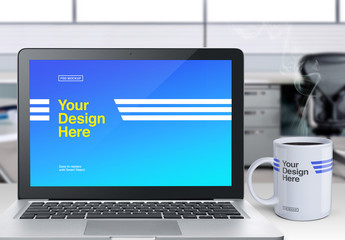 Laptop and Mug Mockup