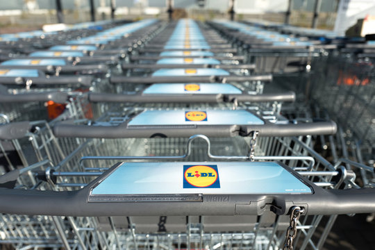 ENGELSKIRCHEN, GERMANY - October 30, 2016: Lidl sign at shopping carts made by Wanzl. Lidl is the largest discount supermarket chain in Europe.