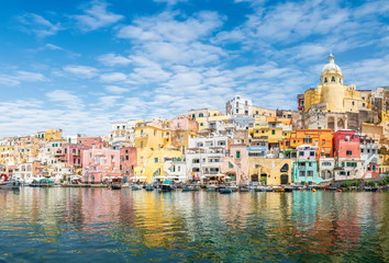 Wall Mural - Landscape with colorful houses on Procida island, Italy