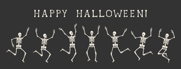 Happy Halloween. Dancing human skeletons on party of skeletons. Seven white silhouettes of skeletons are isolated on black background. Vector illustration