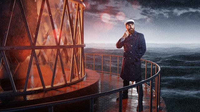 Seemann steht an Leuchtturm