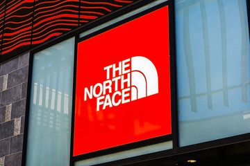 August 2, 2018 Palo Alto / CA / USA - The North Face logo above the entrance to the store located in the upscale open air Stanford Shopping Mall, Silicon Valley, California