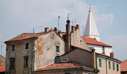 Old, historic buildings in the Slovenian coastal town of Izola