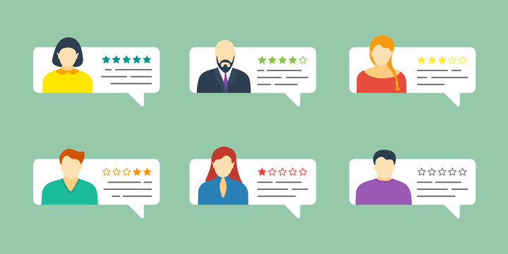 Feedback chat speech bubble set with male and female avatars. Review grading system five stars rating with good and bad testimonial rate collection. Vector quality appraisal illustration concept