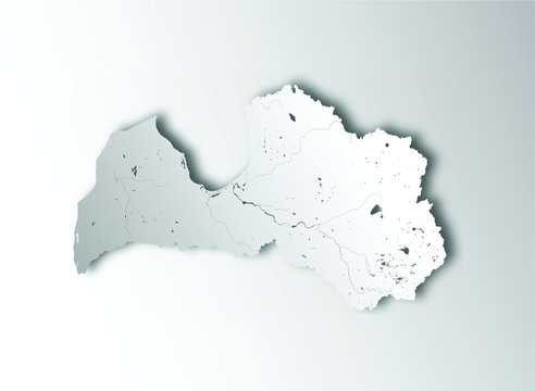 Map of Latvia with paper cut effect. Hand made. Rivers and lakes are shown. Please look at my other images of cartographic series - they are all very detailed and carefully drawn by hand WITH RIVERS A