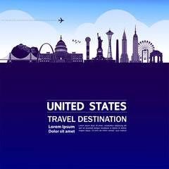 Fototapete - United states travel destination grand vector illustration.