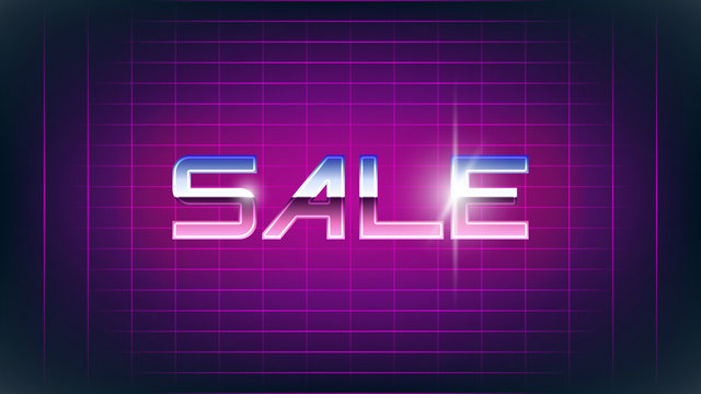 Sale retro banner. Old style chrome text with glares. 80s style pink flat grid background. Glowing effect. Vintage looking offer illustration. VHS intro feel