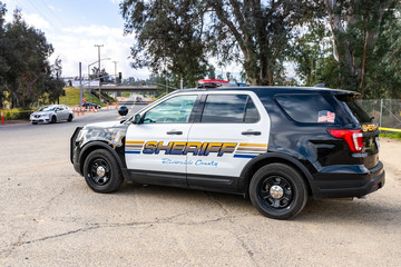 March 20, 2019 Lake Elsinore / CA / USA - Riverside County police car parked at the Walker Canyon trailhead