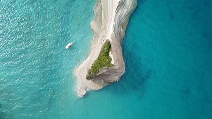 Aerial drone panoramic high resolution photo of iconic area of Sidari with steep white volcanic seascape known as canal d' Amour, Corfu, Ionian, Greece