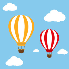 Two balloons flying in blue sky illustration