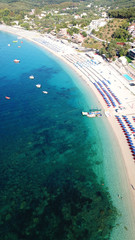 Poster Zanzibar Aerial drone photo of natural beauty bay and sandy beach of Valtos with watersports facilities and emerald sea. Parga, Epirus