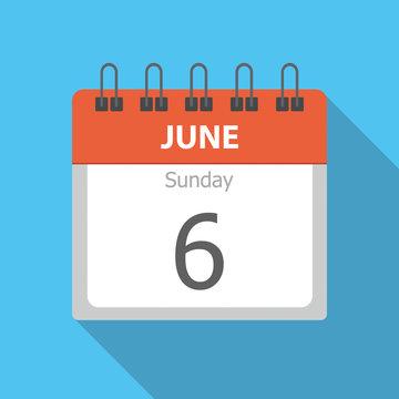 Sunday 6 - June - Calendar icon