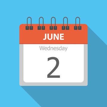 Wednesday 2 - June - Calendar icon