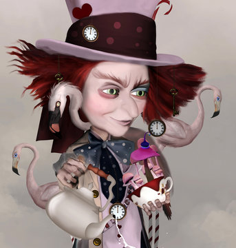 Wonderland series - Mad hatter with teapot, fantasy mushrooms and pink flamingos