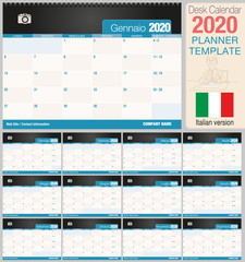 Useful desk calendar 2020 with space to place a photo. Size: 210 mm x 148 mm. Italian version - Vector image