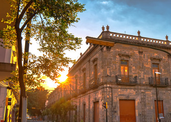 Colorful Guadalajara streets in historic city center near Central Cathedral