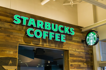 August 4, 2017 Milpitas/CA/USA - Starbucks Coffee at the Great Mall, San Francisco bay area