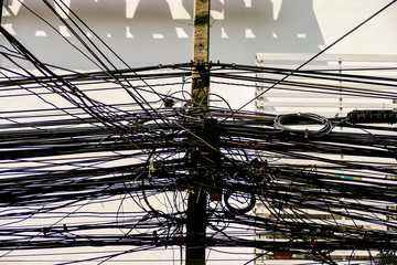 Asian electrical cables caos, Beautiful photo picture taken in thailand