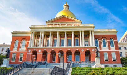 Massachusetts State House in Boston historic city center, located close to landmark Beacon Hill