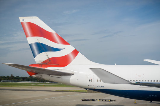 September 24, 2017 London/UK - British airways logo on the tail of an aircraft getting ready to take flight from Terminal 5, Heathrow