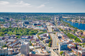 Panoramic aerial view of Boston from Prudential Tower observation deck