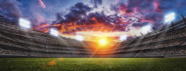 Soccer stadium, green grass and night sky. 3d renering