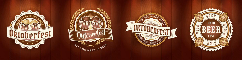 Oktoberfest beer logo bundle set for bar or pub