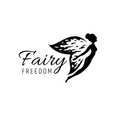Photo sur Aluminium Papillons dans Grunge fairy logo with rustic/grunge wings.flat style.flying fairy vector illustration