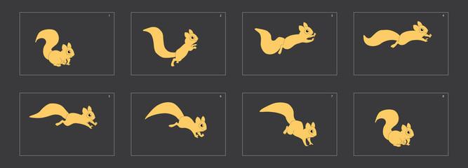 Animal run cycle. Cartoon squirrel sprites ready for animation