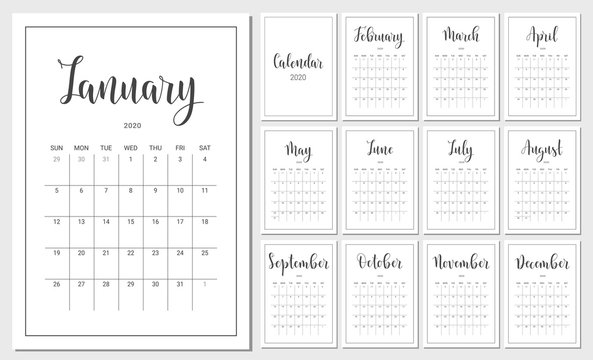 Vector Calendar Planner for 2020 Year. Handwritten lettering. Set of 12 Months. Week Starts Sunday. Stationery Design for Printable.