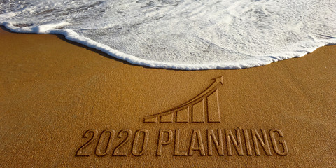 2020 Year Finances Planning Sand Text. Photo Image