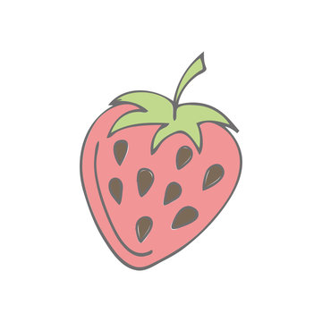 Isolated doodle stawberry.