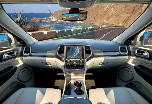 The vision of autonomous, luxurious interior SUV.Futuristic car cockpit. Autonomous car. Driverless vehicle.