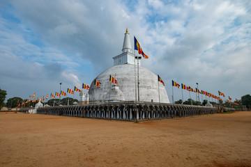 Wall of Elephants surrounding a Stupa in Anuradhapura, Sri Lanka