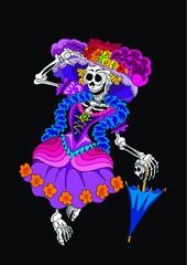 Mexian skeleton catrina for dia de muertos