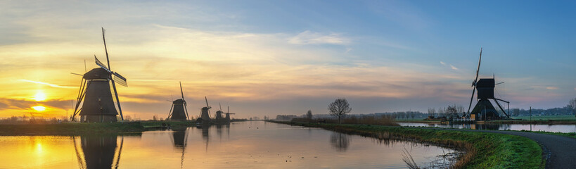 Rotterdam Netherlands, sunrise panorama landscape of Dutch Windmill at Kinderdijk Village
