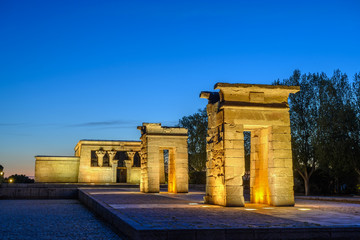 Madrid Spain, city skyline night at Temple of Debod