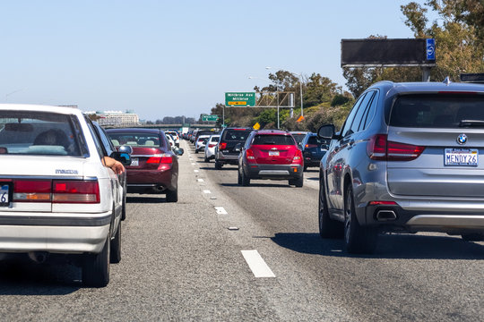 June 30, 2019 Millbrae / CA / USA - Traffic jam on Freeway 101 in San Francisco bay area, near San Francisco International Airport