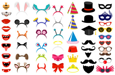 Photo booth party elements. Vector funny face masks and clown nose and glasses, vintage party hats and birthday costume bunny ears isolated on white background. Photobooth costume mask collection.