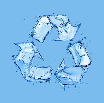 Recycling sign made of water splashes on blue background