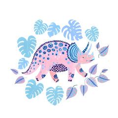 Cute cartoon dinosaur poster in scandinavian style