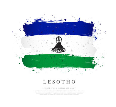 Flag of Lesotho. Brush strokes are drawn by hand. Independence Day.