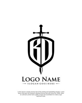 BD, BO letter with shield style logo template vector