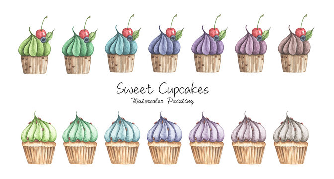 Set of different cupcakes isolated on white background. Watercolor illustration.
