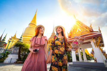 Two asian girlfriends traveling and check location by a map in Grand Palace Fotobehang
