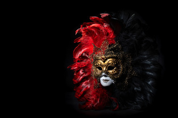 Italian carnival venetian mask. Mysterious event, party